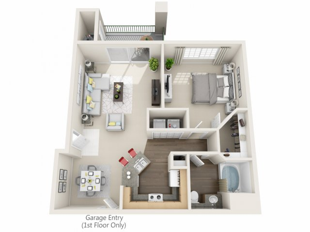 One Bedroom Floorplan | Champions at Nor\'wood 1