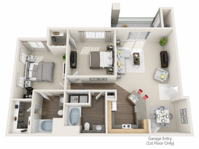 Two Bedroom Floorplan | Champions at Nor\'wood 1