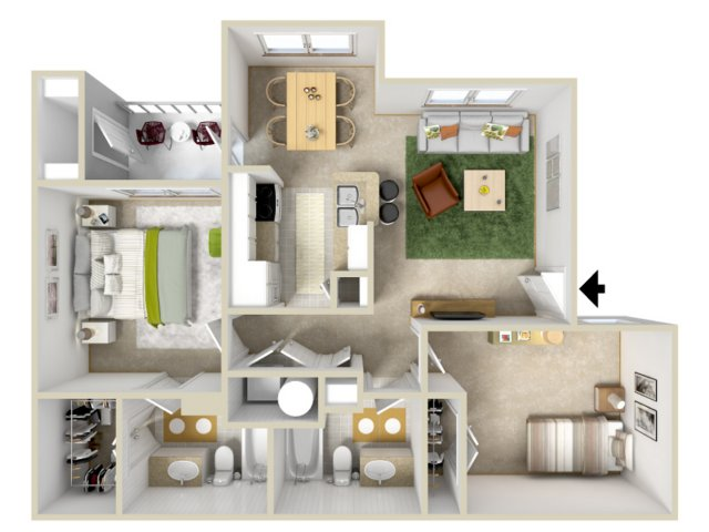 Floor Plan 3 | Laurel Canyon Apartments 2
