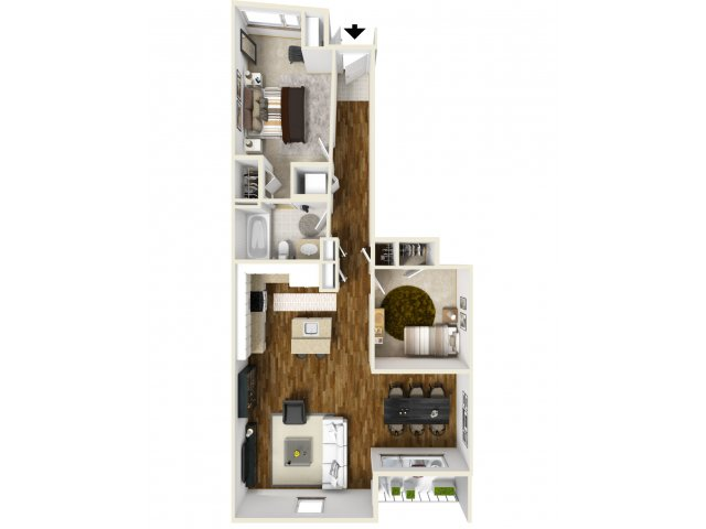 3D Floor Plan B | Apartments For Rent Tacoma WA |Chelsea Heights Apartments