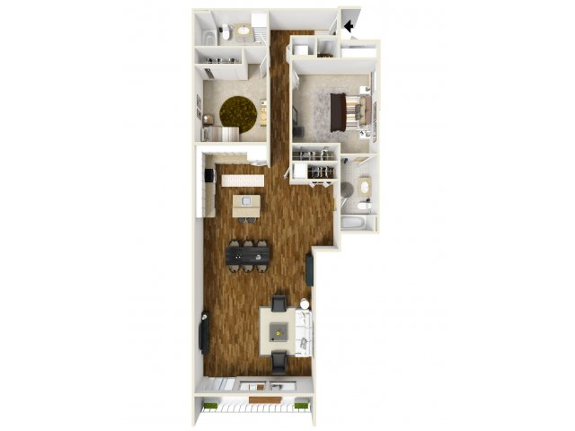 3D Floor Plan D | Apartments For Rent Tacoma WA |Chelsea Heights Apartments