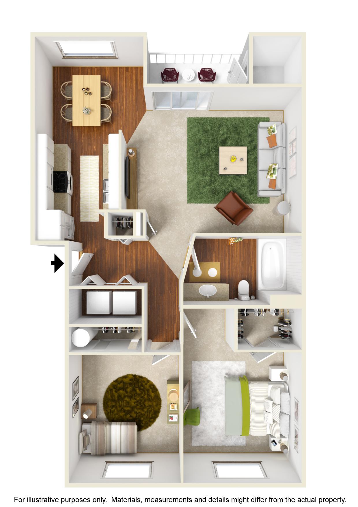 Corvallis Apartments | Spring Creek | Floorplan 1