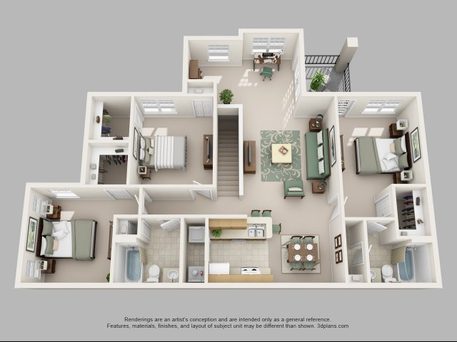 Three Bedroom Floor Plans 2 | Apartments In Charlotte NC | Courtney Ridge