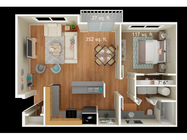 1 Bedroom Floor Plan | Big Trout Lodge 2