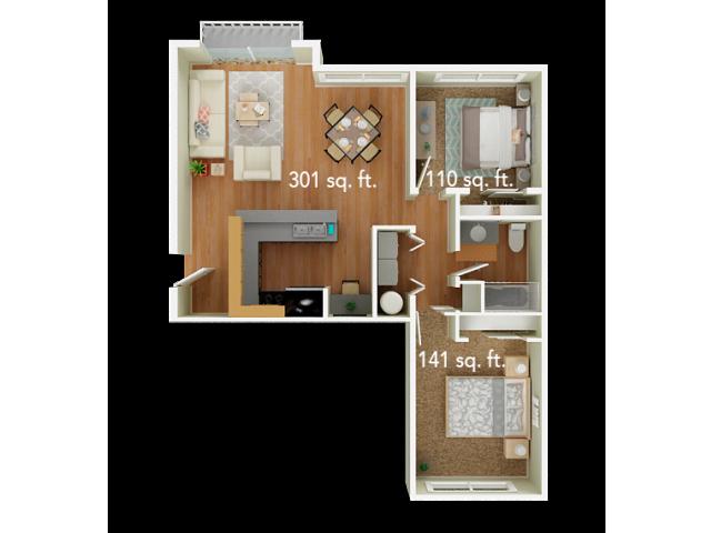 2 Bedroom Floor Plan | Big Trout Lodge 3