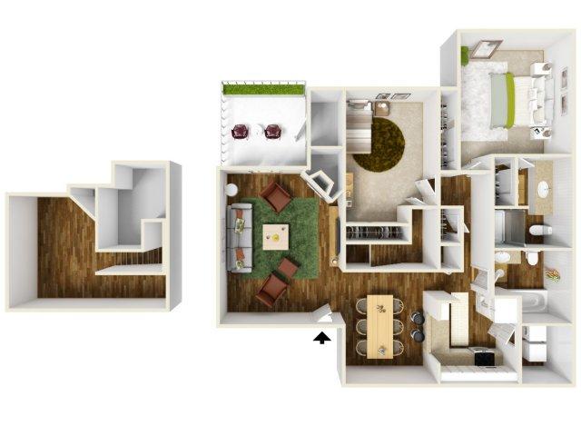2 Bedroom Floor Plan | Rivercrest Meadows 3