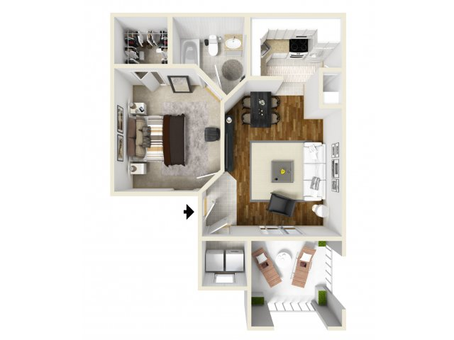 One Bedroom Floorplan | Belmont