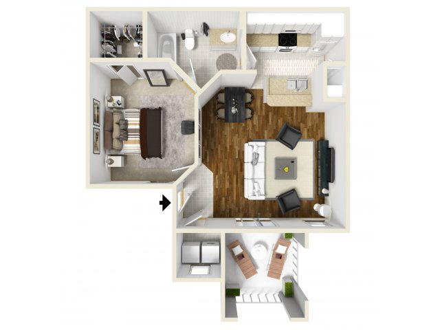One Bedroom Floorplan | Belmont 1