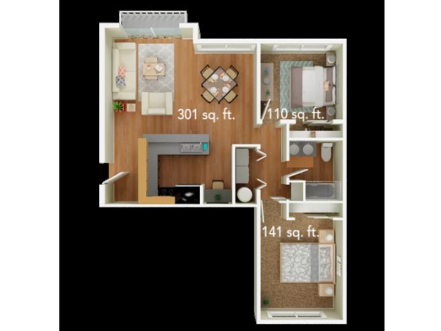2 Bedroom Floor Plan | Big Trout Lodge