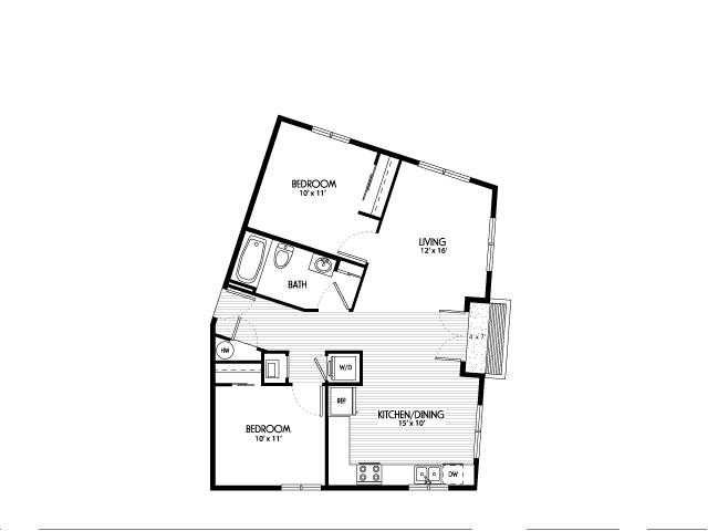 Two Bedroom Floor Plans | Apartments For Rent In Eugene Oregon | Crescent Village East
