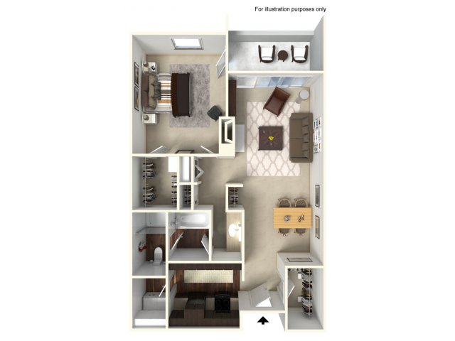 1 Bedroom Floor Plan | Alta Springs 2