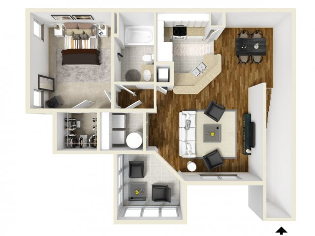 One Bedroom Floor Plans 2 | Apartments In Orlando | Manor Row