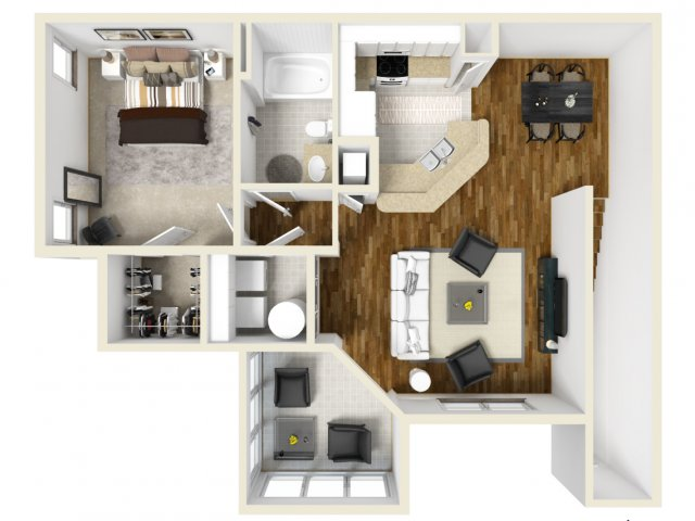 One Bedroom Floor Plans 1 | Apartments In Orlando | Manor Row