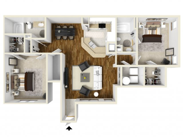 Two Bedroom Floor Plans | Apartments In Orlando | Manor Row