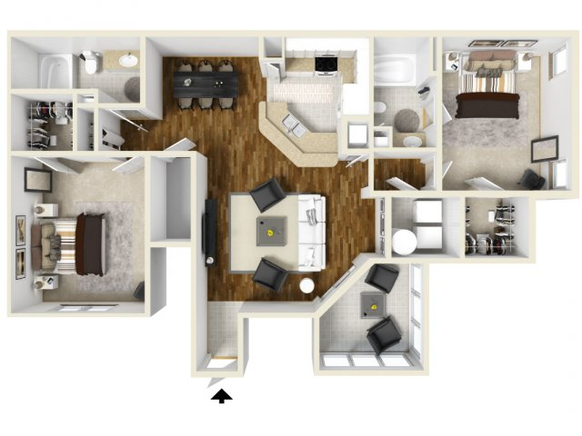 Two Bedroom Floor Plans 1 | Apartments In Orlando | Manor Row
