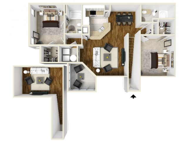 Two Bedroom Floor Plans 3 | Apartments In Orlando | Manor Row