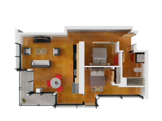 2 Bedroom Floor Plan | Apartments San Francisco | Arc Light 1