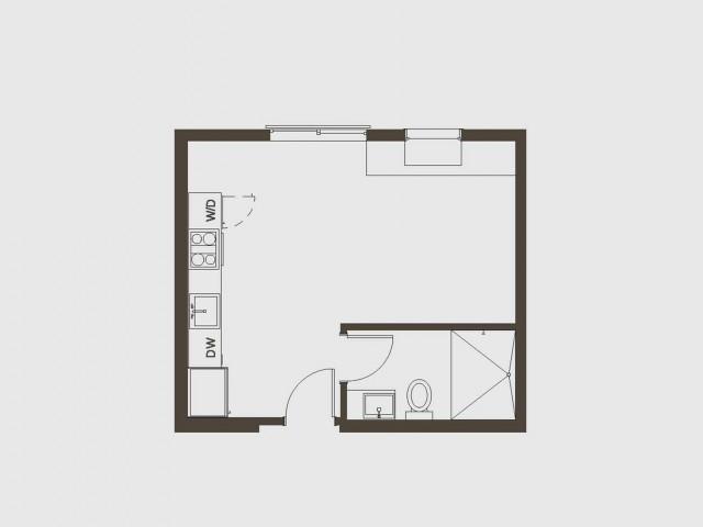 Studio Floor Plan   San Francisco Apartments   Arc Light