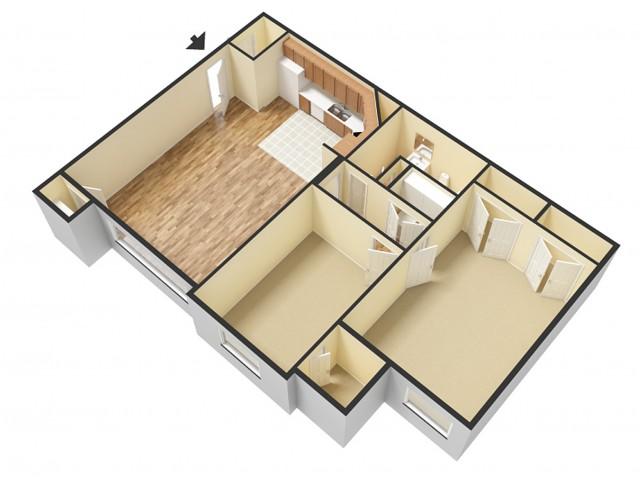 2 Bedroom Floor Plan 2   Apartments Sandy Utah   Rockledge at Quarry Bend