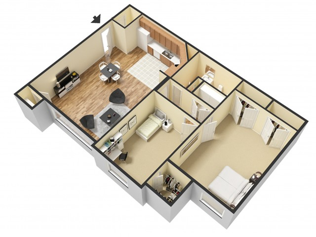 2 Bdrm Floor Plan 2   Apartments For Rent Sandy Utah   Rockledge at Quarry Bend