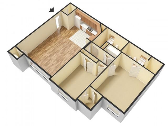 2 Bedroom Floor Plan 3   Apartments Sandy Utah   Rockledge at Quarry Bend