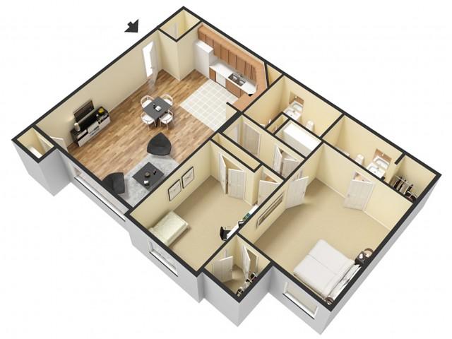 2 Bdrm Floor Plan 3   Apartments For Rent Sandy Utah   Rockledge at Quarry Bend
