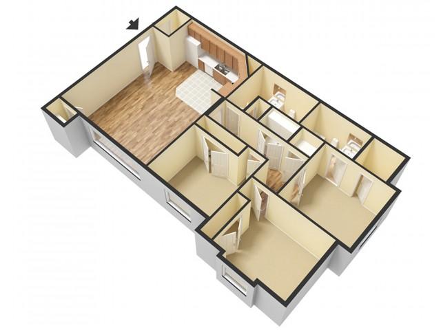 3 Bedroom Floor Plan | Sandy Utah Apartments 1 | Rockledge at Quarry Bend