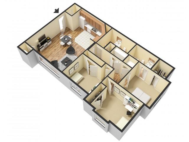 3 Bdrm Floor Plan 2   Apartments In Sandy Utah   Rockledge at Quarry Bend