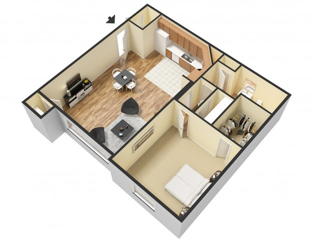 1 Bdrm Floor Plan 1 | Sandy Apartments | Rockledge at Quarry Bend
