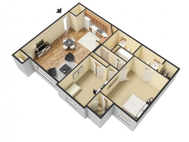 2 Bedroom Floor Plan 4   Apartments Sandy Utah   Rockledge at Quarry Bend