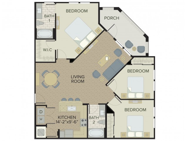 3 Bedroom Floor Plan | Port Orange Florida Apartments | Sanctuary at West Port