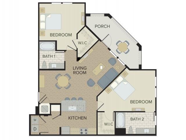 2 Bdrm Floor Plan | Port Orange FL Apartments | Sanctuary at West Port
