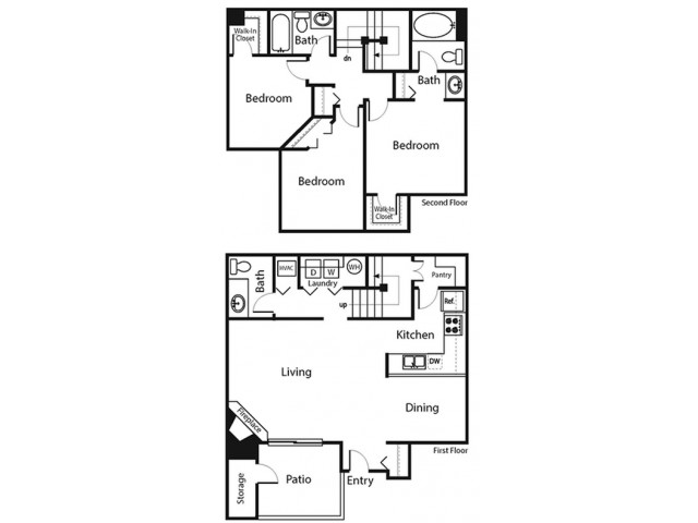 3 Bdrm Floor Plan | Ahwatukee Foothills Apartments | Verano Townhomes