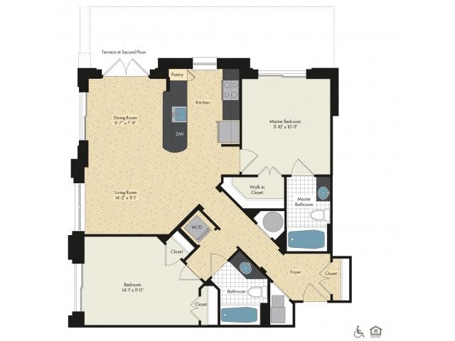 Floor Plan 44 | Bethesda Luxury Apartments | Upstairs at Bethesda Row