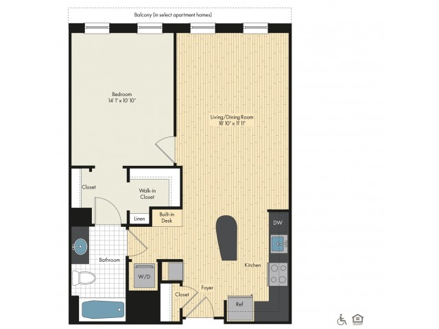Floor Plan 14 | Bethesda Luxury Apartments | Upstairs at Bethesda Row