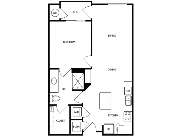 1 Bdrm Floor Plan | Apartments West Jordan | Novi at Jordan Valley Station