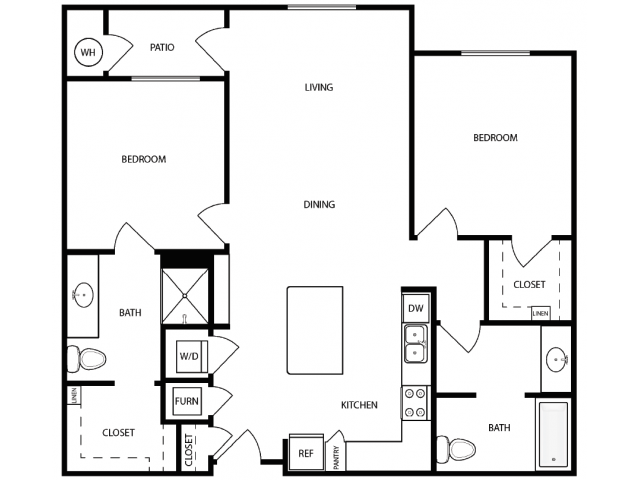 2 Bdrm Floor Plan | Apartments For Rent West Jordan Utah | Novi at Jordan Valley Station