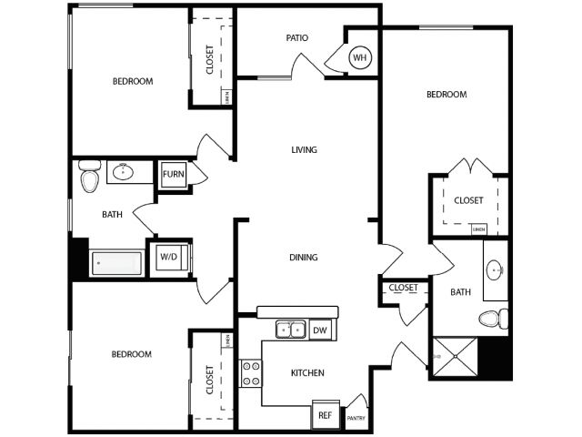 3 Bedroom Floor Plan | West Jordan UT Apartments | Novi at Jordan Valley Station