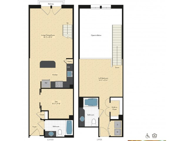 One Bedroom   Two Bathrooms