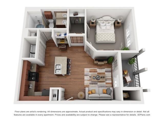 Floor Plan 3 | Austin Apartments | Villages at Turtle Rock