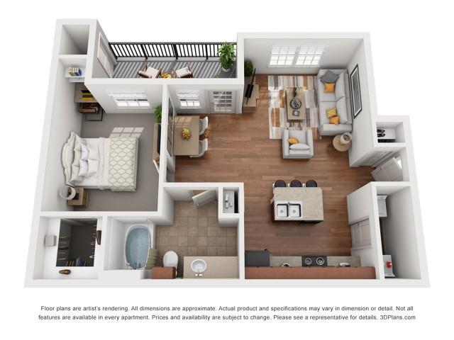 Floor Plan 4 | Austin Apartment | Villages at Turtle Rock