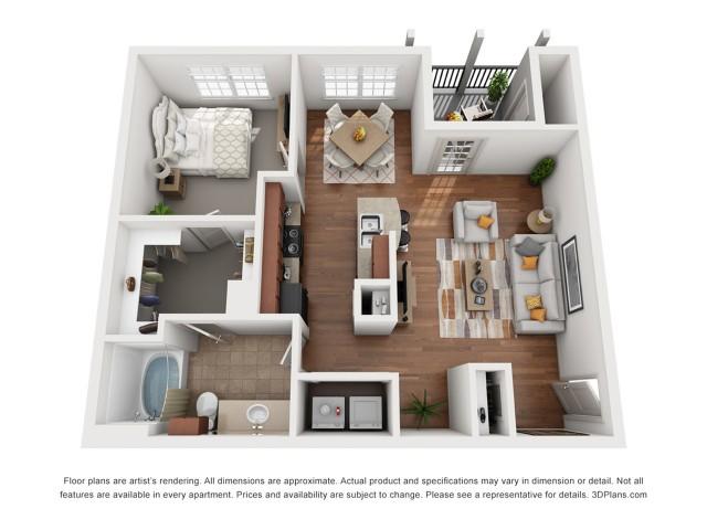 Floor Plan 5 | One Bedroom Apartments Austin | Villages at Turtle Rock