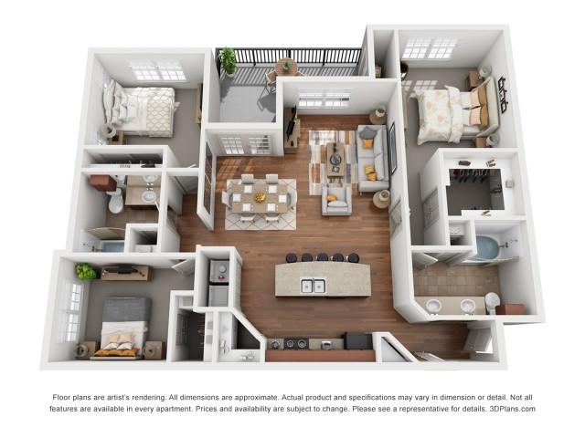 Floor Plan 9 | Austin Apartment | Villages at Turtle Rock