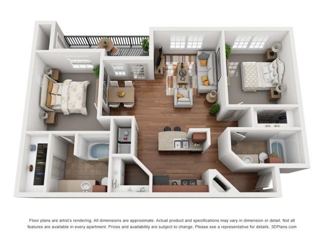 Floor Plan 8 | Austin Apartments | Villages at Turtle Rock