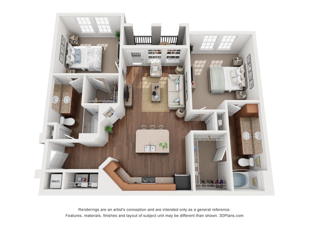 2 Bedrooms Floorplan 2 | The Vineyards at Hammock Ridge