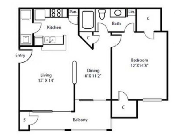 Floor Plan 1| Rockbrook Creek Apartments