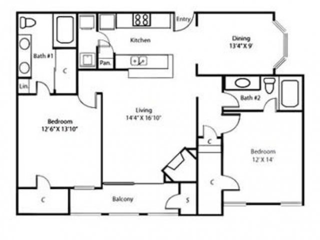 Floor Plan 4 | Rockbrook Creek Apartments