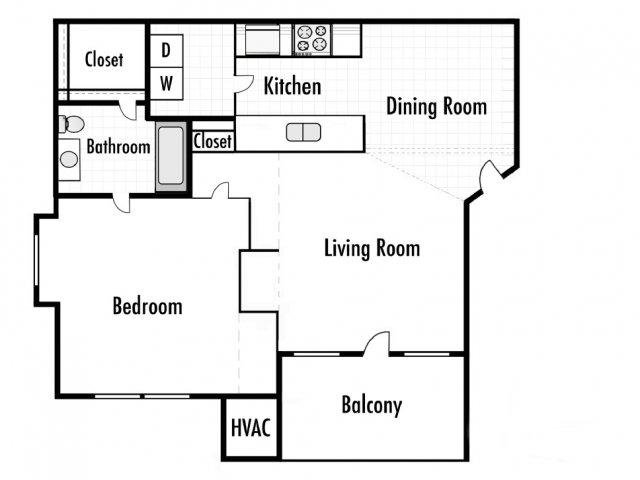 1 Bedroom Floor Plan | Timber Lakes at Red Bridge