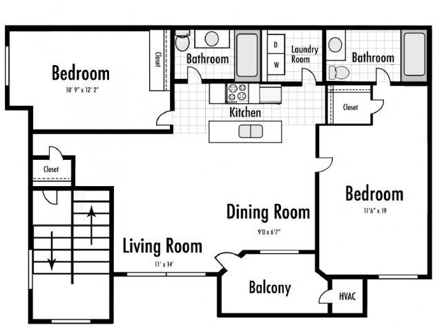 2 Bedroom Floor Plan | Timber Lakes at Red Bridge