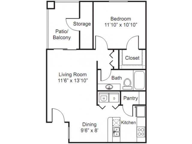 1 Bedroom Floor Plan | Luxury Apartments In Tempe | The Palms on Scottsdale